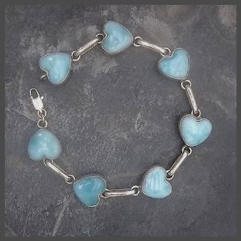 Exclusive 7 Heart Stone Sterling Silver Larimar Bracelet